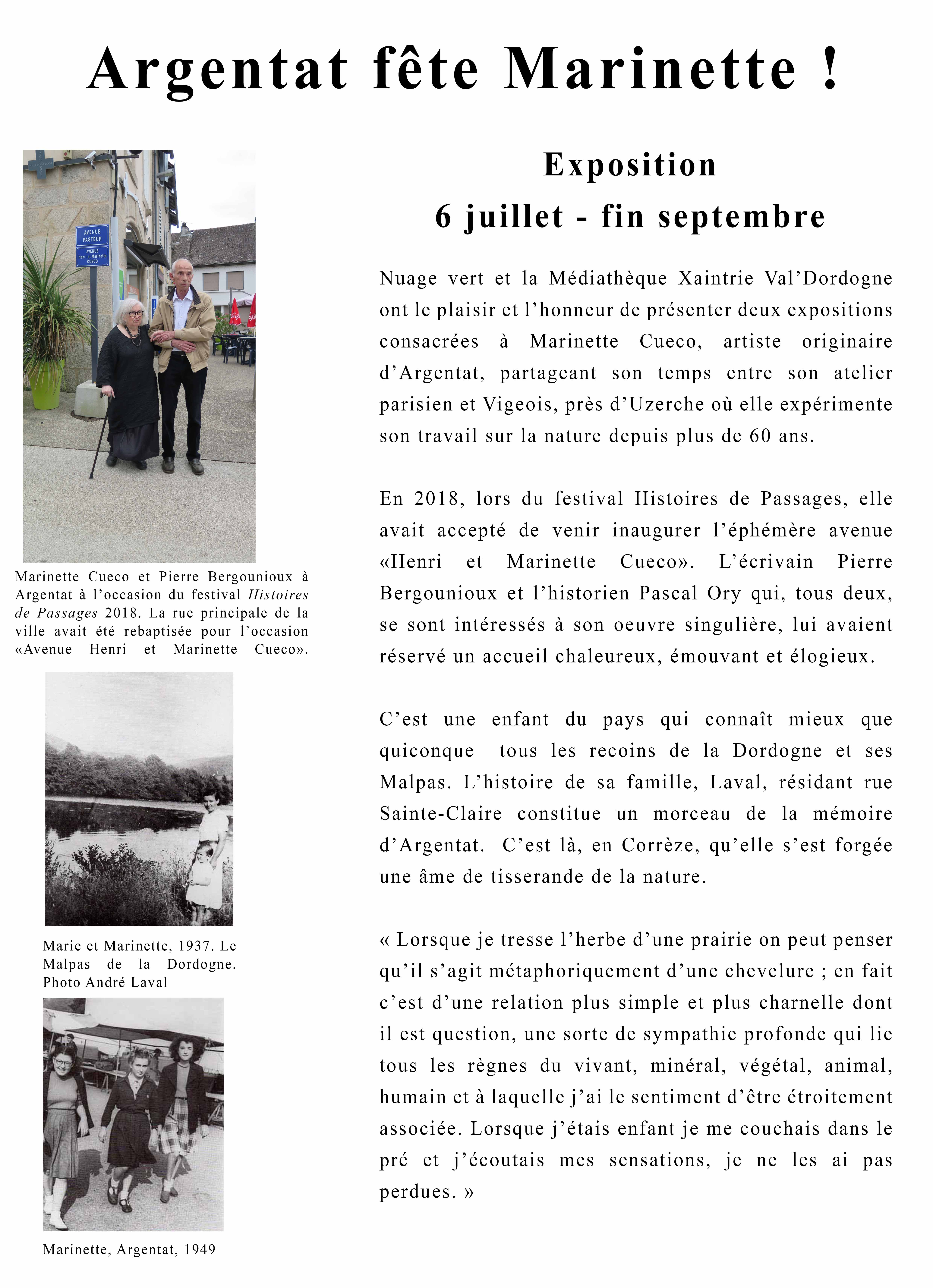 Argentat fête Marinette  : exposition |